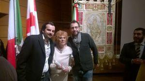 Con mio figlio Andrea e Gianluca Comazzi, stremata