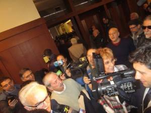Ressa all'arrivo di Sandro Mazzola intervistato da Tiziano Crudeli