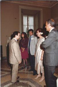Un ricordo molto personale. Gianni Rivera, testimone delle mie seconde nozze con Vincenzo Celentano, al cospetto del Sindaco di Milano Carlo Tognoli, l'officiante